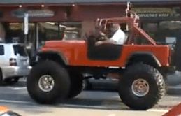 Monster Blown CJ7 Cruising on Main Street in Somerville.